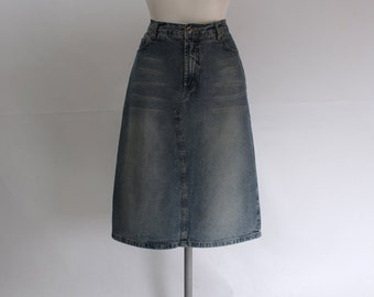 90s Vintage • Denim Skirt • Denim Pencil Skirt • High Waist Skirt • Midi Skirt • Blue Pencil Skirt • Denim Midi Skirt • Western • Country