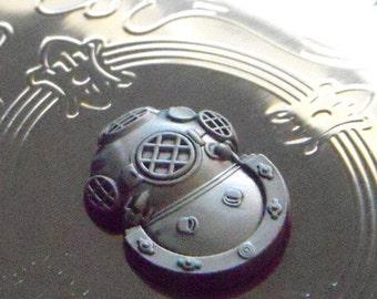 Steampunk Flask Diving Helmet Mask Vintage Inspired Shiny Silver Plated Big 8 oz