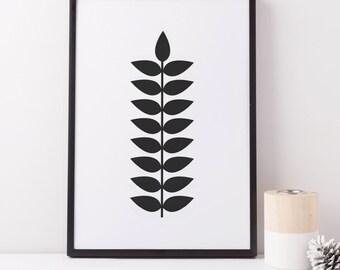 Black And White Print, Botanical Print, Geometric Leaf Print, Geometric Print, Scandinavian Print, Black And White Wall Art, Black Print
