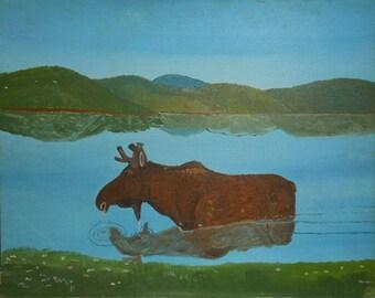 vintage Maine moose folk art oil painting signed