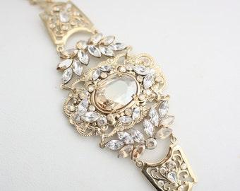 Wedding Bracelet Gold Wedding Jewelry Golden Shadow Crystal Bracelet Statement Bracelet Bridal Jewelry RYAN