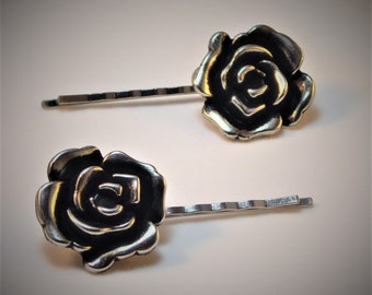 Silver Metal Rose Hair Bobby Pin