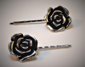 Silver Metal Rose Hair Bobby Pin