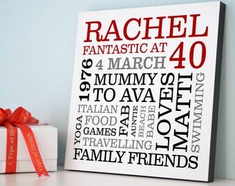 Personalised 40th Birthday Typographic Art