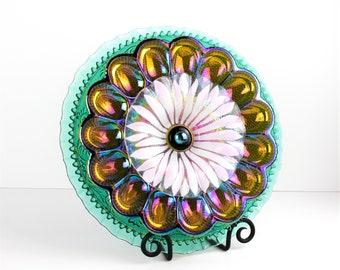 "Vintage Glass Garden Flower ""Amber Aventurine""/ Recycled Glass Plate Flower Yard Art Sculpture & Painted Stake / Spring Trends Garden Décor"
