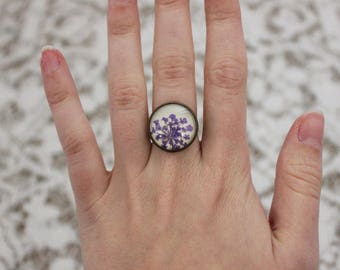 Purple pressed flower ring