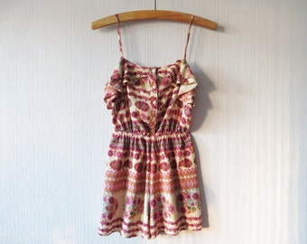 Pink Floral Playsuit Summer Romper Shorts Onsie Floral Mini Jumpsuit Womens Shorts Playsuit Spaghetti Straps Hippie Hipster Boho Medium Size