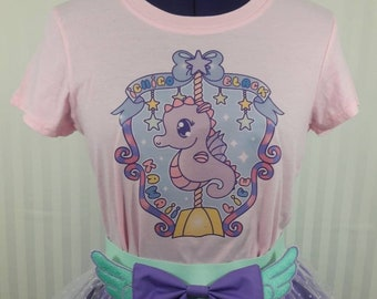 Kawaii life fairy kei decora seahorse sea horse t-shirt tee adult--small to plus size choose color