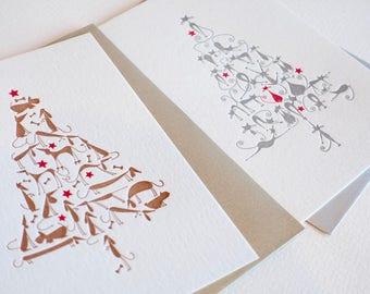 Noël de chats et chiens, carte pour les amateurs de chiens et dames de chat fou, teckel, lévrier, terrier, Carlin, carte kwaii Noël