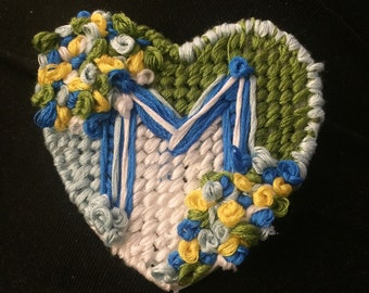 M Heart magnet, Hand stitched heart magnet, heart embroidery, gift