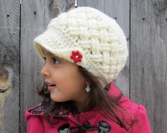 Celtic Weave girl hat Crochet hat with buttons Winter hat Crochet kids hat Crochet toddler hat Girl clothing Newborn to adult sizes
