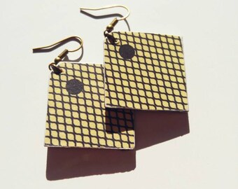 Earrings graphic jewelry paper mesh, vintage jewelry, vintage buckle
