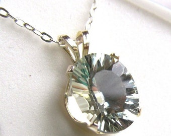 2.31 carat 10x8mm Prasiolite Oval in Sterling Silver with Sterling Silver Chain