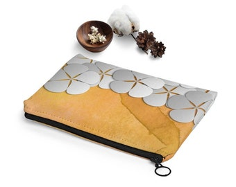 Floral makeup bag, Toiletry pouch, Orange and white carry all pouch, flowers clutch, Travl pouch, Gift of Love for wife, Adp033-2