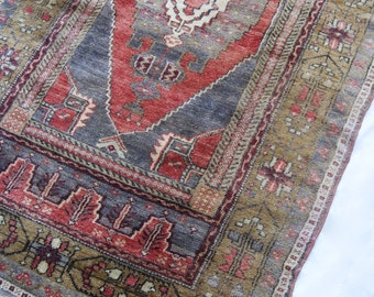 "6'11""x3'8"" Silky Dark Red Blue and Olive Green Vintage Turkish Rug"
