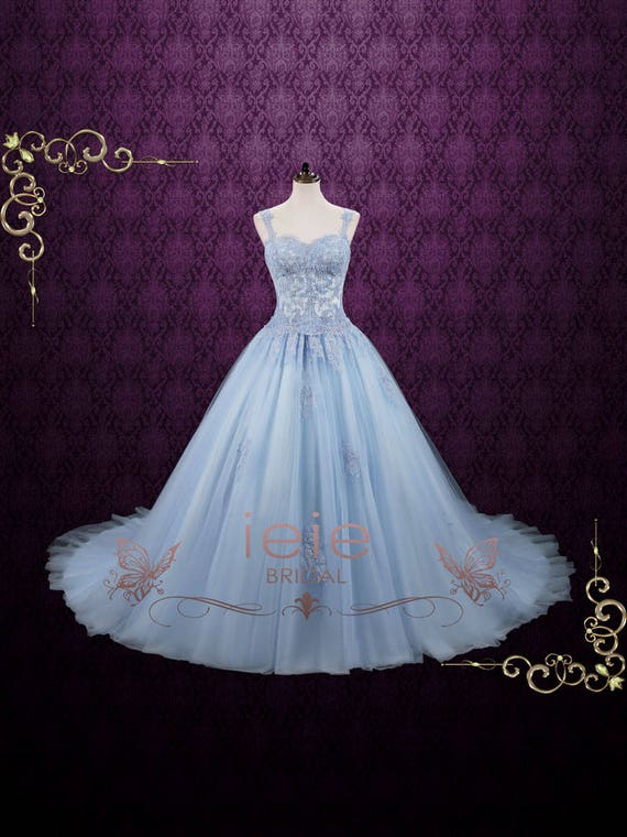Powder Blue Cinderella Ball Gown Wedding Dress Blude Wedding