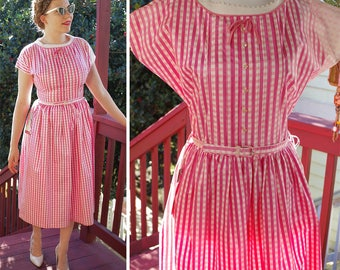 GINGHAM 1950's 60's Vintage Bright Pink + White Gingham Dress w/ Rhinestone Buttons + Belt // size Small // by EVERGLAZE w/ Store TAGS