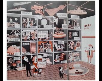 Family Shopping Futuristic Illust Jim Flora 1959 Mall Life Late 50s Consumer Bonanza Great Comic style Funny Antics. Lot (2) Pages 13 x 10.
