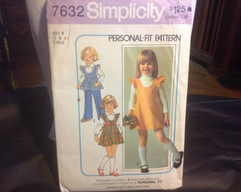 Vintage Simplicity children's pattern 7632 from 1975 size 3, 4