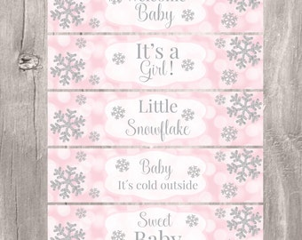 Winter Snow Party Package Pink And Silver Snowflake Theme