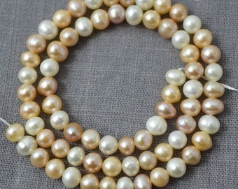 Potato pearl Large hole pearl Freshwater Pearl Round pearl earring Loose pearls pearl necklace Multi Color 5.0-5.5mm Full Strand PL2173