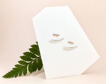 Minimalist SILVER + ROSE GOLD filled Ear Jackets. Front Back Curved Bar Earrings. Silver Minimal Double Sided Earrings with Rose Gold studs.