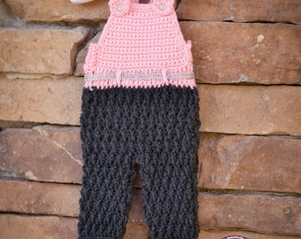 Newborn overalls crochet overalls photo prop baby girls crochet pants crochet pink pants newborn romper longalls shower gift ready to ship