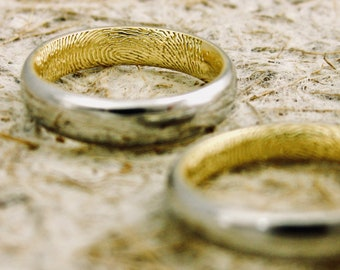 Pair of Finger Print Wedding Rings in Two-Tone Platinum & 18K Yellow Gold Glossy Finish Sizes 5 and 8