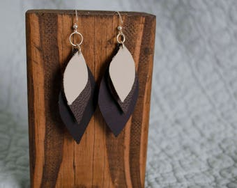 Layered Leather Leaves Earrings