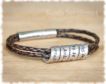 Best Friend Gift • Long Distance Friendship • Personalized Jewelry • Leather Anniversary • Womens Personalized Bracelet