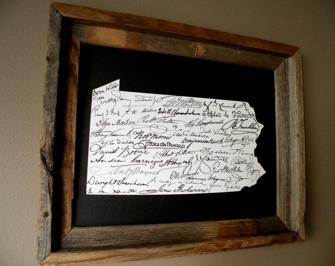 Signatures of Pennsylvania History Map Print (Black) - Unframed