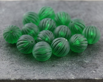 Green Frosted Fluted Vintage Lucite Rounds 12mm