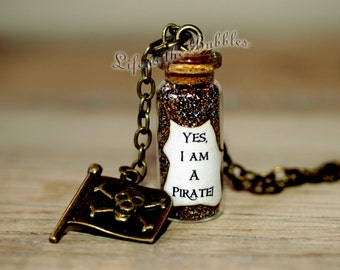 Pirate Jewelry, I Am a Pirate Magical Necklace with a Jolly Roger Flag Charm, Disney Bound Cosplay, Pirate Cosplay,  by Life is the Bubbles