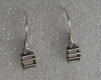 Tiny mixed metal Square earrings
