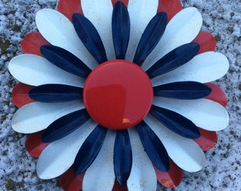 Vintage Red, White, & Blue Enameled Flower Brooch