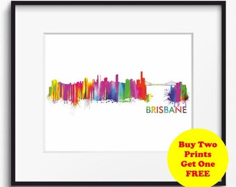 Brisbane Skyline Watercolor Art Print (352) Cityscape Australia