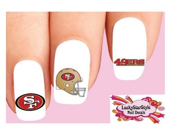 Waterslide Nail Decals Set of 20 - San Francisco 49ers Football Assorted