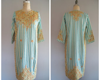 Vintage Blue Ornate Gold Embroidered Kurta Dress