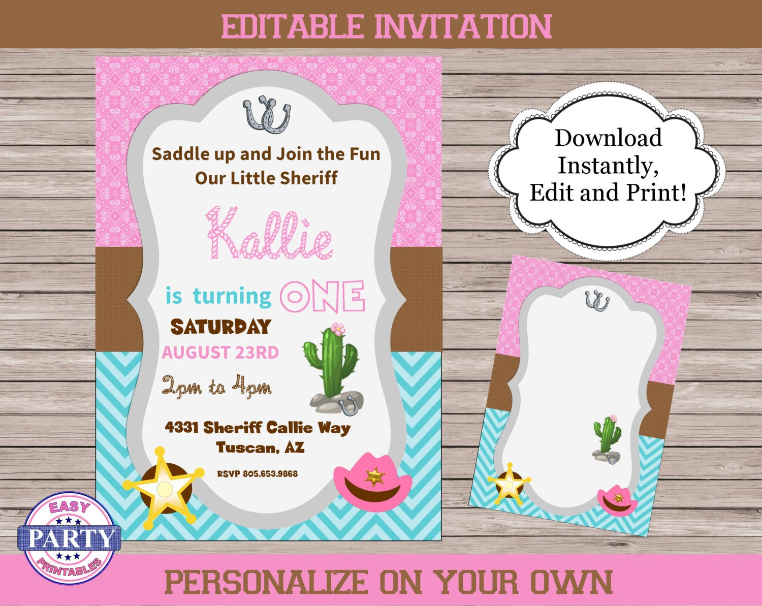 Sheriff Callie Invitations coordinating party package