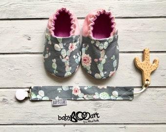 Prewalker shoes | Cactus moccasins | baby girl | baby booties | Baby shoes | cactus | MOCCASINS| pink moccasins | cactus baby | cactus mania