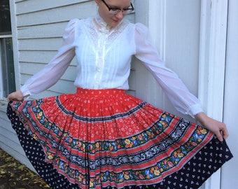 60s Red Print Skirt Full Cotton Floral Vintage 29 Waist M L