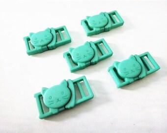 "5 Mint Green Cat Collar Buckles - 1/2"" Cat Head Breakaway Buckles - Cat Collar Parts"