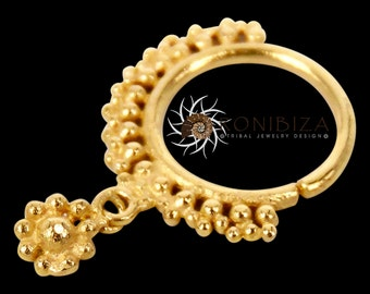 Gold Nose Ring - Gold Nose Hoop - Indian Nose Ring - Tribal Nose Ring - Nose Jewelry - Nose Piercing - Nostril Ring - Nostril Jewelry NL9GP