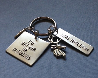 I'd Rather Be Outdoors Keychain, Deer Hunting, Bullet, Hunter's Gift for Dad, Birthday for Him, Father's Day From Kid, Child, Outdoorsman