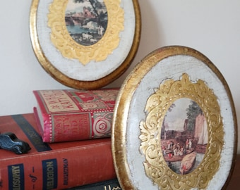 River Scene Painting Set - Oval Shaped - Vintage - Zhender's - Michigan - Scenery - Nature - Unique - Vintage - Antique - Wall Gallery