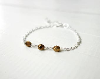 Chain bracelet golden glass beads stylish minimalist bracelet layering bracelet for women