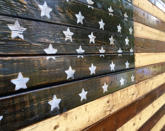 Large Rustic Stained Wood American Flag Barn Art 3x5