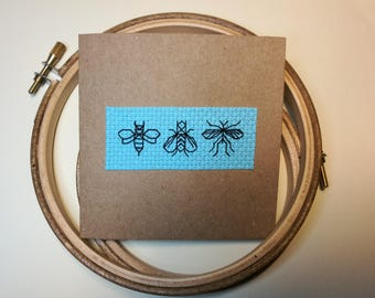 Cross Stitch Greetings or Birthday Card - Blackwork Insects