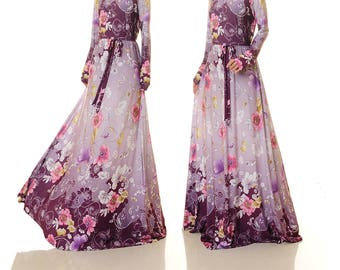 Purple wedding dress etsy purple floral maxi dress purple gown long floral dress wedding guest dress for junglespirit Gallery