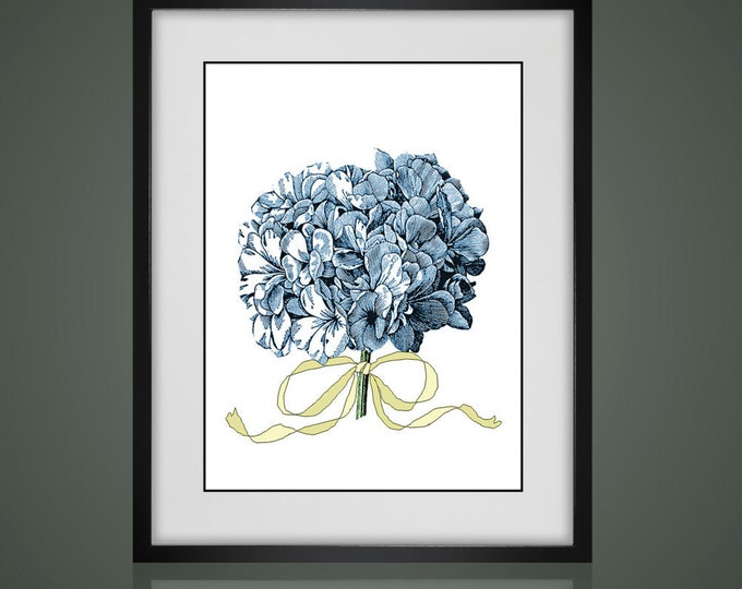 FLORAL PRINT - HYDRANGEA - Free Shipping - Matted And Framed botanical Print, Gallery Wall Art, Framed Antique Print, Black Or  White Frames